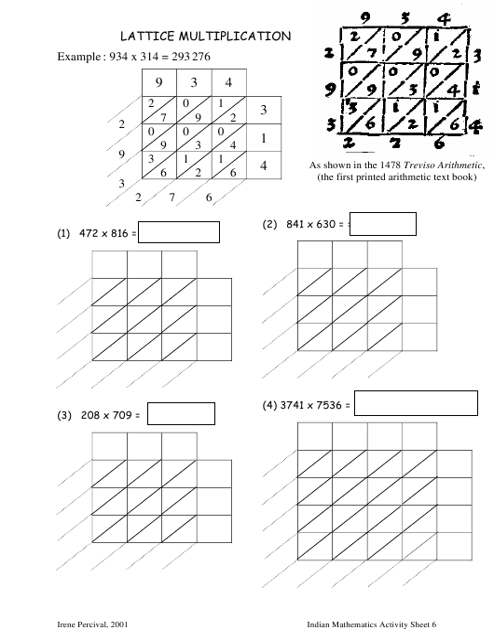 """Lattice Multiplication Worksheet - Peter Liljedahl, Simon Fraser University"" Download Pdf"