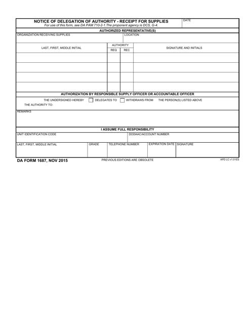 DA Form 1687  Fillable Pdf