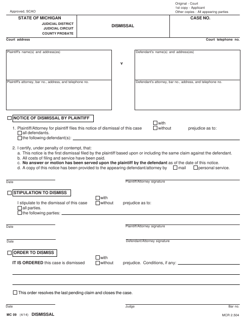 Form MC 09 Download Fillable PDF, Dismissal Form Michigan