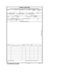 DA Form 7598 Vehicle Load Card