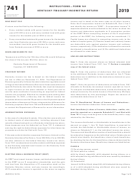 "Instructions for Form 741, 42A741 ""Kentucky Fiduciary Income Tax Return"" - Kentucky, 2019"