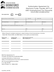 """""""Authorization Agreement for Electronic Funds Transfer (Eft) of Lwc Unemployment Tax Payments"""" - Louisiana"""