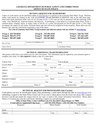 "Form DPSSP3125 ""Crash Request Form"" - Louisiana"