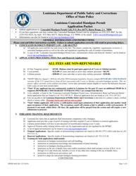 "Form DPSSP4645 ""Louisiana Concealed Handgun Permit Application"" - Louisiana"