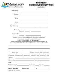 """Non-profit Universal Disability Pass Application"" - Maryland"