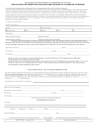 """Form SDATRP_EX4B """"Application for Exemption for Surviving Spouses of a Disabled Veterans"""" - Maryland"""