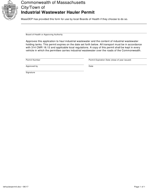 """Industrial Wastewater Hauler Permit"" - Massachusetts Download Pdf"