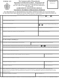 "Form 105 ""Agreement to Extend 180 Day Payment Without Prejudice Period"" - Massachusetts"