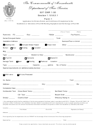 """Form FP-056 (1) """"Application for Permit, Permit, and Certificate of Completion for the Installation or Alteration of Fuel Oil Burning Equipment and the Storage of Fuel Oil"""" - Massachusetts"""