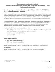 """Formulario EAEDC-DS """"Asistencia De Emergencia Para Personas De La Tercera Edad, Incapacitados Y Ninos Suplemento De Incapacidad"""" - Massachusetts (Spanish)"""