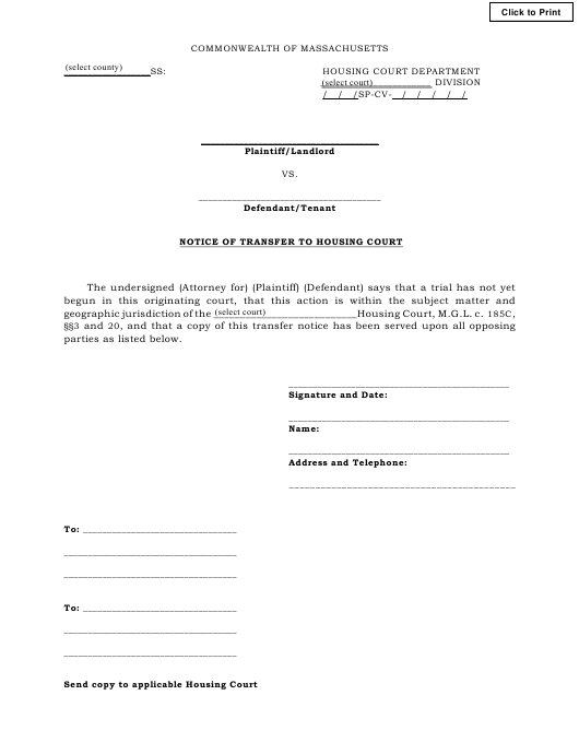 """""""Notice of Transfer to Housing Court"""" - Massachusetts Download Pdf"""