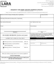 "Form CSCL/LCL-013 ""Request for Name and/Or Address Update"" - Michigan"