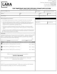 "Form CSCL/LCE-014 ""Request for Temporary Military Spouse License Application"" - Michigan"