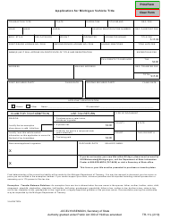 "Form TR-11L ""Application for Michigan Vehicle Title"" - Michigan"