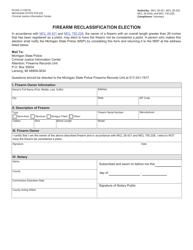 "Form RI-044 ""Firearm Reclassification Election"" - Michigan"