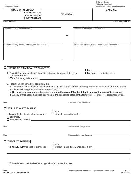 Form MC09 Printable Pdf