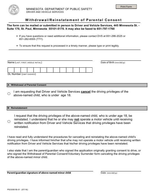 Form PS33061B  Printable Pdf