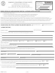 "Form PS2406 ""Used Vehicle Parts/Scrap Metal License Application"" - Minnesota"