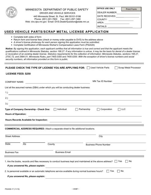 Form PS2406  Printable Pdf