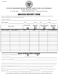 """Service Report Form"" - Mississippi"