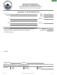 "Form 111 ""Request for Information"" - Montana"