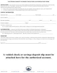 """Electronic Benefit Payment Deduction Authorization Form"" - Montana"