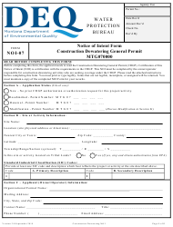 "Form NOI-07 ""Notice of Intent Form - Construction Dewatering General Permit Mtg070000"" - Montana"