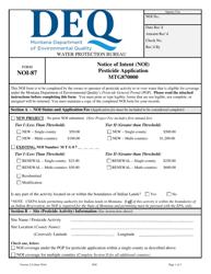 "Form NOI-87 ""Notice of Intent (Noi) Pesticide Application Mtg870000"" - Montana"