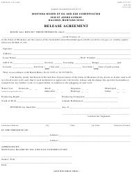 """Form 19 """"Release Agreement"""" - Montana"""