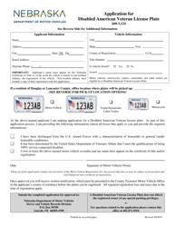 """""""Application for Disabled American Veteran License Plate"""" - Nebraska"""