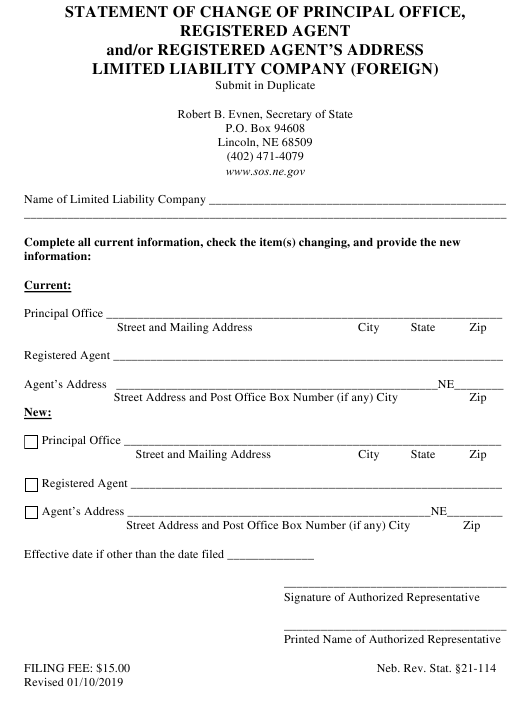 """Statement of Change of Principal Office, Registered Agent and/Or Registered Agent's Address Limited Liability Company (Foreign)"" - Nebraska Download Pdf"