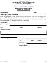"""Form 664 """"Location of Records Energy Auditor"""" - Nevada"""
