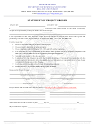 """Form 649 """"Statement of Project Broker"""" - Nevada"""