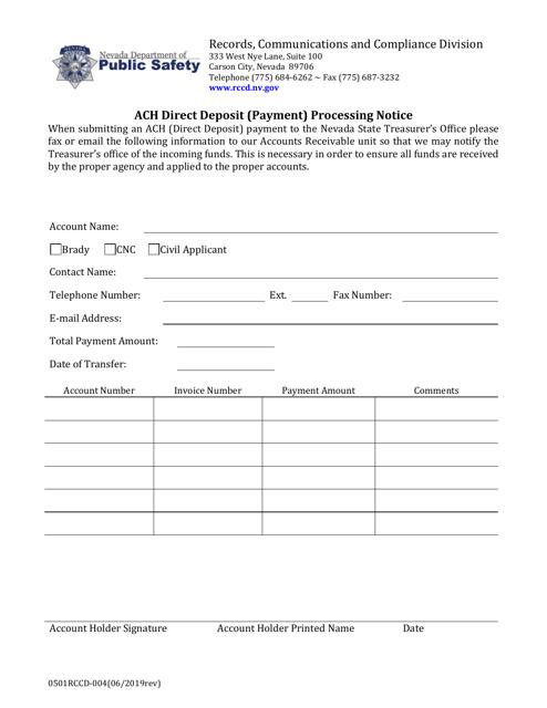 Form 0501RCCD-004 Printable Pdf