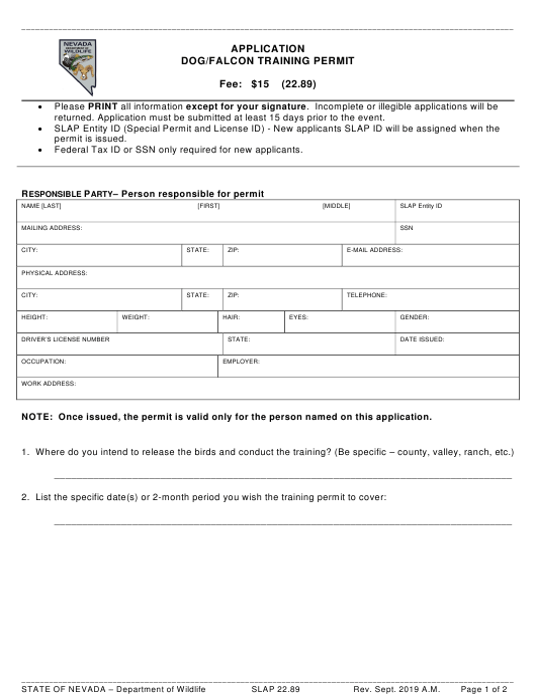 Form SLAP22.89 Printable Pdf