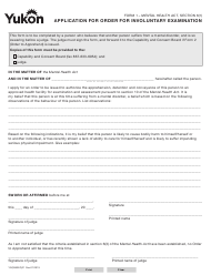 "Form 1 (YG3983) ""Application for Order for Involuntary Examination"" - Yukon, Canada"