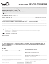 "Form 16 (YG4003) ""Temporary Release of Involuntary Patient"" - Yukon, Canada"