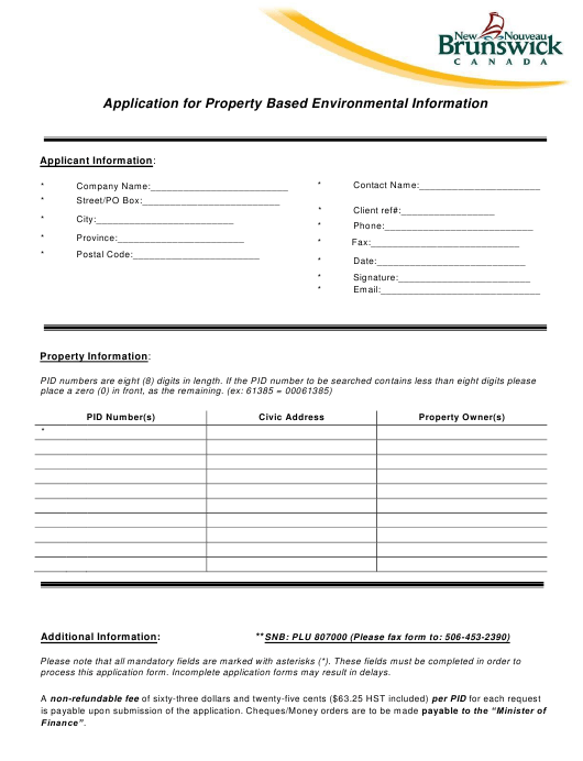"""""""Application for Basic Property-Based Environmental Information"""" - New Brunswick, Canada Download Pdf"""