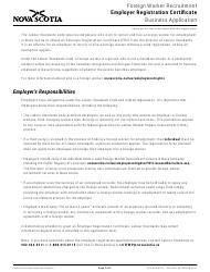 """Foreign Worker Recruitment Employer Registration Certificate Business Application"" - Nova Scotia, Canada"