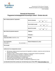 """""""Demande De Financement Programme De Developpement Economique Culturel - Division DES Arts"""" - Newfoundland and Labrador, Canada (French)"""