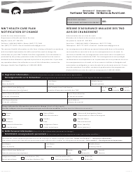 """Form NWT8266 """"Nwt Health Care Plan Notification of Change"""" - Northwest Territories, Canada (English/French)"""