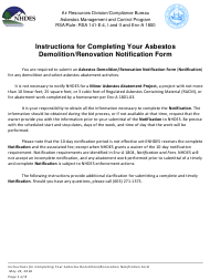 """Instructions for Form NHDES-A-01-016 """"Asbestos Demolition/Renovation Notification Form"""" - New Hampshire"""