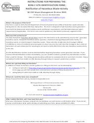 """Instructions for Form NHDES-S-01-009 """"Rcra C Site Identification Form"""" - New Hampshire"""