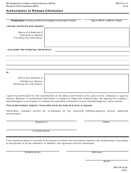 """BFA Form 11 """"Authorization to Release Information"""" - New Hampshire"""
