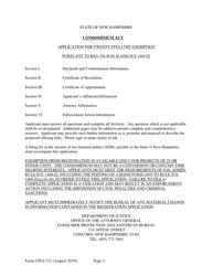 "Form CPLC121 ""Application for Twenty-Five Unit Exemption"" - New Hampshire"