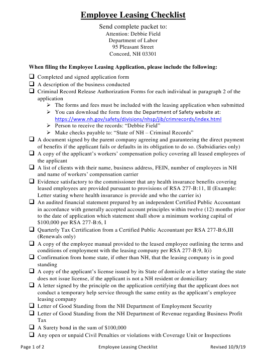 """""""Employee Leasing Checklist"""" - New Hampshire Download Pdf"""