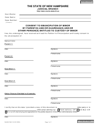 "Form NHJB-3138-F ""Consent to Emancipation of Minor by Parent(S) and/Or Guardian(S) and/Or Other Person(S) Entitled to Custody of Minor"" - New Hampshire"