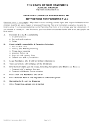 """Instructions for Form NHJB-2064-F """"Parenting Plan"""" - New Hampshire"""
