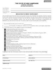 "Form NHJB-2782-F ""Mediation Payment Worksheet"" - New Hampshire"