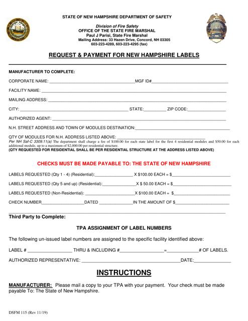 Form DSFM115  Printable Pdf